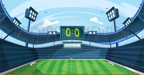 Football field with green grass and scoreboard - Vector illustrations for everyone   Microstocker.Pro