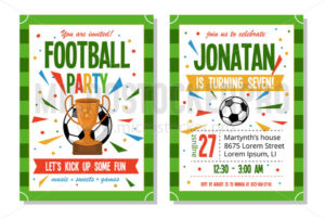 Football party for kids invitation template - Vector illustrations for everyone | Microstocker.Pro