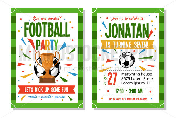 Football party for kids invitation template - Vector illustrations for everyone   Microstocker.Pro