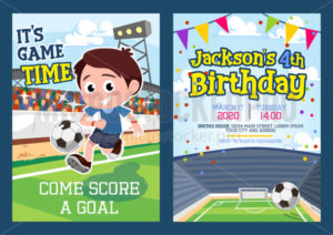 Football party invitation template with footballer - Vector illustrations for everyone | Microstocker.Pro
