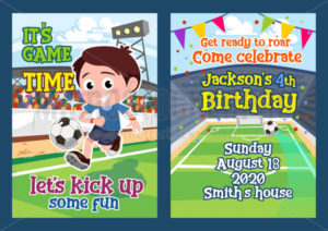 Football party invitation template with little boy - Vector illustrations for everyone | Microstocker.Pro