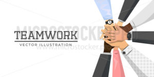 Friends with stack of hands showing teamwork - Vector illustrations for everyone | Microstocker.Pro