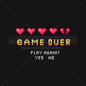 Game over pixel death screen with red hearts template - Vector illustrations for everyone | Microstocker.Pro