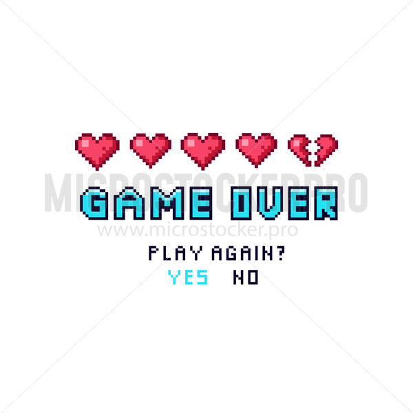 Game over pixelated death screen template - Vector illustrations for everyone   Microstocker.Pro