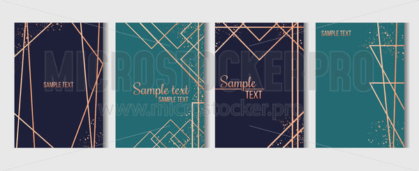 Geometric templates with golden lines set - Vector illustrations for everyone | Microstocker.Pro