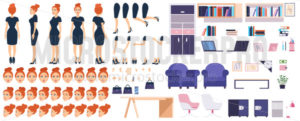 Girl boss constructor with office furniture set - Vector illustrations for everyone | Microstocker.Pro