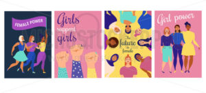 Girl power inspirational quotes posters set - Vector illustrations for everyone | Microstocker.Pro