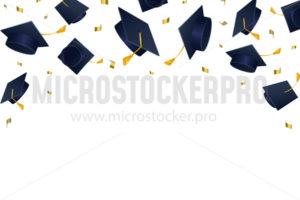 Graduation hats flying in air after celebration - Vector illustrations for everyone | Microstocker.Pro