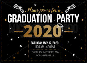 Graduation party design template on black - Vector illustrations for everyone | Microstocker.Pro