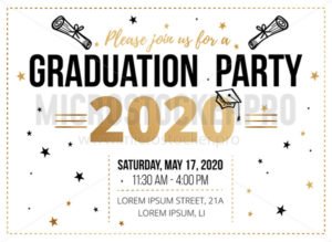 Graduation party invitation design template - Vector illustrations for everyone | Microstocker.Pro