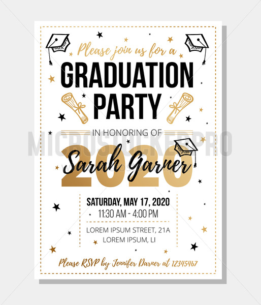 Graduation party invitation with information - Vector illustrations for everyone   Microstocker.Pro