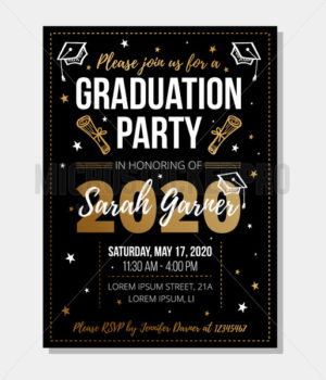 Graduation party template with bright decorations - Vector illustrations for everyone | Microstocker.Pro