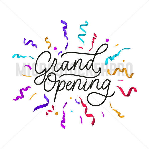 Grand opening banner with festive ribbons and lettering - Vector illustrations for everyone | Microstocker.Pro