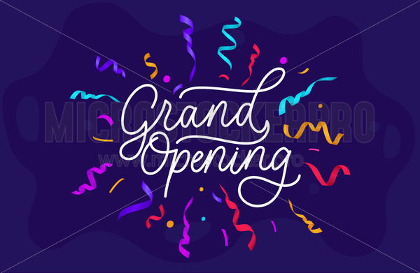 Grand opening festive banner on blue background - Vector illustrations for everyone | Microstocker.Pro