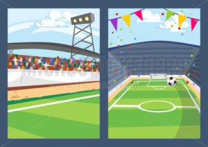 Green football fields with marking and stands set - Vector illustrations for everyone | Microstocker.Pro