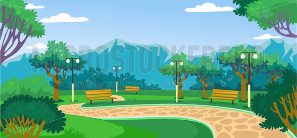 Green park with beautiful landscape and mountains - Vector illustrations for everyone | Microstocker.Pro