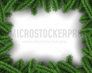 Green pine tree realistic design on white background - Vector illustrations for everyone | Microstocker.Pro