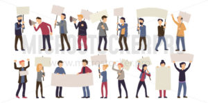 Group of male and female protest isolated on white - Vector illustrations for everyone | Microstocker.Pro