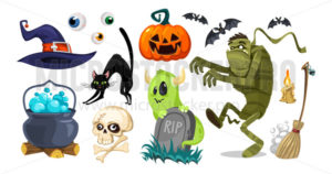 Halloween objects for horror party collection - Vector illustrations for everyone | Microstocker.Pro