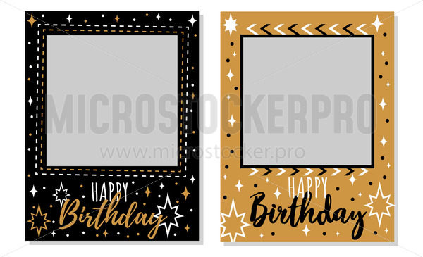 Happy birthday black and gold photo frames set - Vector illustrations for everyone | Microstocker.Pro