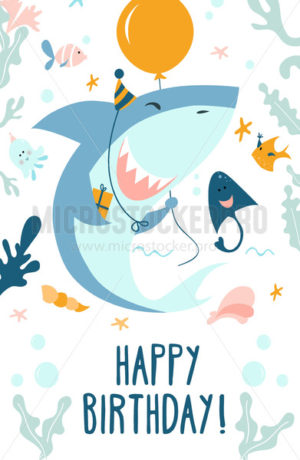 Happy birthday greeting card in marine style - Vector illustrations for everyone | Microstocker.Pro