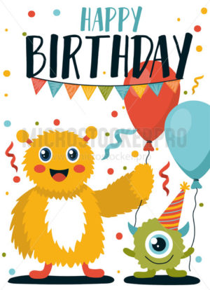 Happy birthday greeting card with cute monsters - Vector illustrations for everyone | Microstocker.Pro