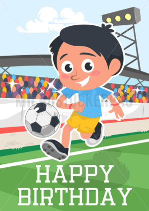 Happy birthday greeting card with smiling kid - Vector illustrations for everyone | Microstocker.Pro