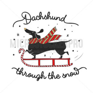 Happy dachshund sliding through snow poster - Vector illustrations for everyone | Microstocker.Pro