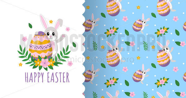Happy easter card and pattern set with floral decor - Vector illustrations for everyone | Microstocker.Pro