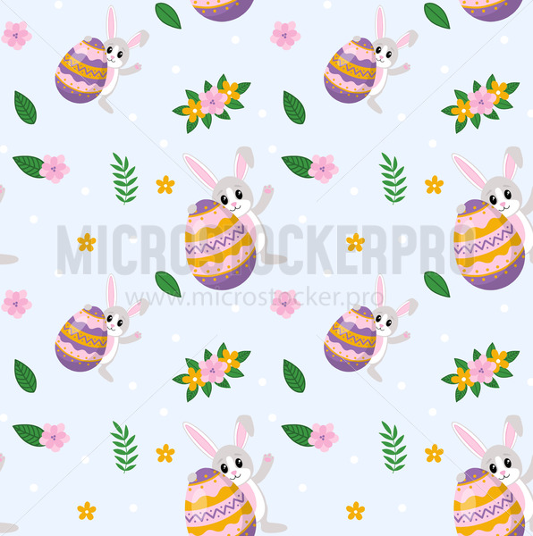 Happy easter pattern with cute rabbit and egg - Vector illustrations for everyone | Microstocker.Pro