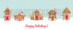 Happy holiday christmas greeting card with cookies - Vector illustrations for everyone | Microstocker.Pro