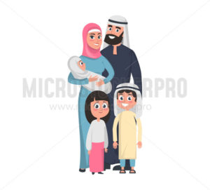 Happy muslim family with boy and girl and infant - Vector illustrations for everyone | Microstocker.Pro