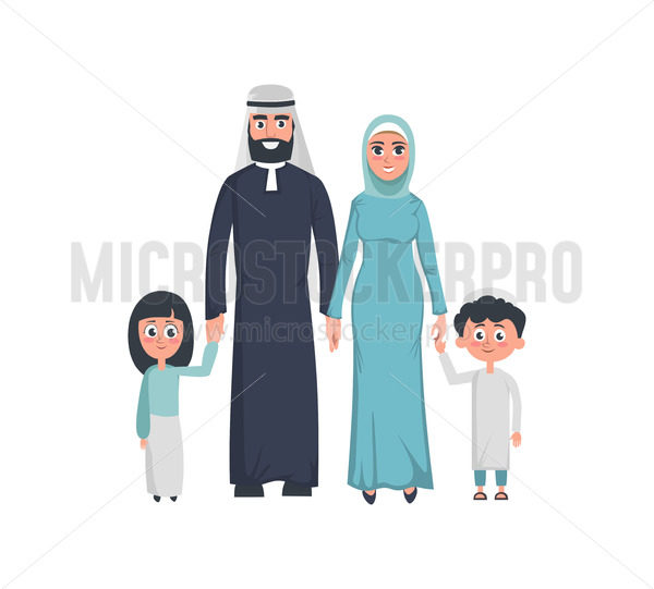 Happy muslim mother and father with kids - Vector illustrations for everyone | Microstocker.Pro