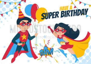 Have a super birthday greeting card design - Vector illustrations for everyone | Microstocker.Pro