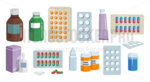 Healthcare medications in different forms set - Vector illustrations for everyone   Microstocker.Pro