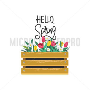 Hello spring card with lettering and flowers in wooden box - Vector illustrations for everyone | Microstocker.Pro
