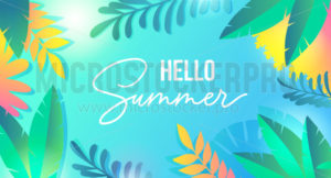 Hello summer colourful banner with tropic leaves - Vector illustrations for everyone | Microstocker.Pro