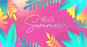 Hello summer tropical banner with palm leaves - Vector illustrations for everyone | Microstocker.Pro