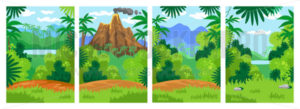 Jungle backgrounds with tropical leaves set - Vector illustrations for everyone | Microstocker.Pro