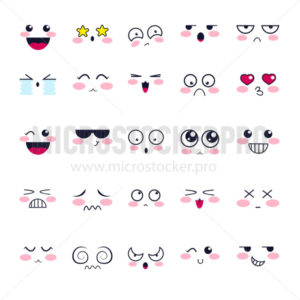 Kawaii cute emotions of different characters set - Vector illustrations for everyone | Microstocker.Pro