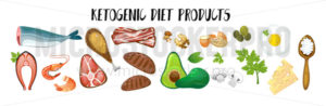 Ketogenic diet products isolated on white - Vector illustrations for everyone | Microstocker.Pro