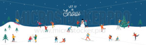 Let it snow happy people performing activities poster - Vector illustrations for everyone | Microstocker.Pro
