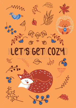 Lets get cozy autumn template with animals and plants - Vector illustrations for everyone | Microstocker.Pro