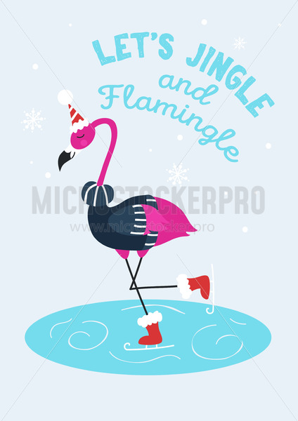 Lets jingle and flamingo holidays greeting card - Vector illustrations for everyone | Microstocker.Pro