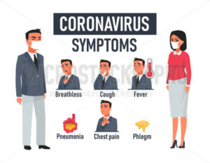 Listed symptoms of newest coronavirus illness - Vector illustrations for everyone | Microstocker.Pro