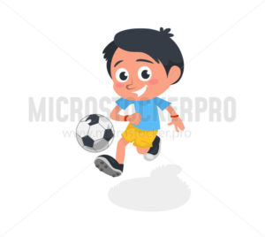 Little boy playing football and kicking ball - Vector illustrations for everyone | Microstocker.Pro
