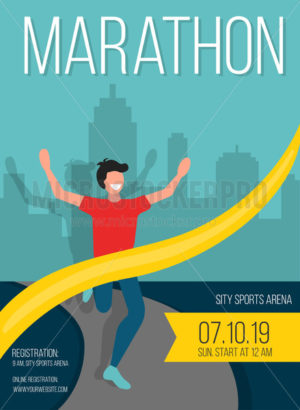 Marathon poster with happy guy crosses finish - Vector illustrations for everyone | Microstocker.Pro