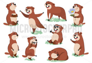 Marmot or beaver wild animal rest on nature - Vector illustrations for everyone | Microstocker.Pro