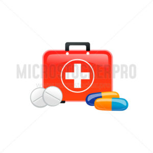 Medicaments and first aid kit icons on white background - Vector illustrations for everyone | Microstocker.Pro