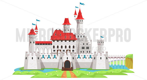 Medieval castle and tower building with landscape - Vector illustrations for everyone | Microstocker.Pro